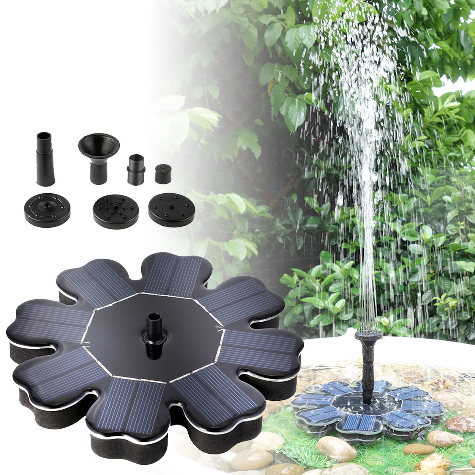 Solar Water Panel Power Fountain Pump Kit Pool GardenPond Submersible WateringZP