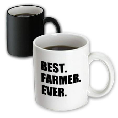 3dRose Best Farmer Ever - fun gift for farming job - farm - black text - Magic Transforming Mug, (Best Gifts For Farmers)