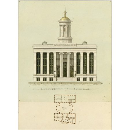 Fa  Ade Design And Old Plan For The First Merchants Exchange New York  Unexecuted Front Elevation And Plan  Poster Print By Alexander Jackson Davis  American New York 1803   1892 West Orange New Jerse