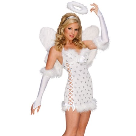 Womens White Sexy Playboy Angel Halloween Costume Dress Halo Wings Set (Angel Costume Womens)