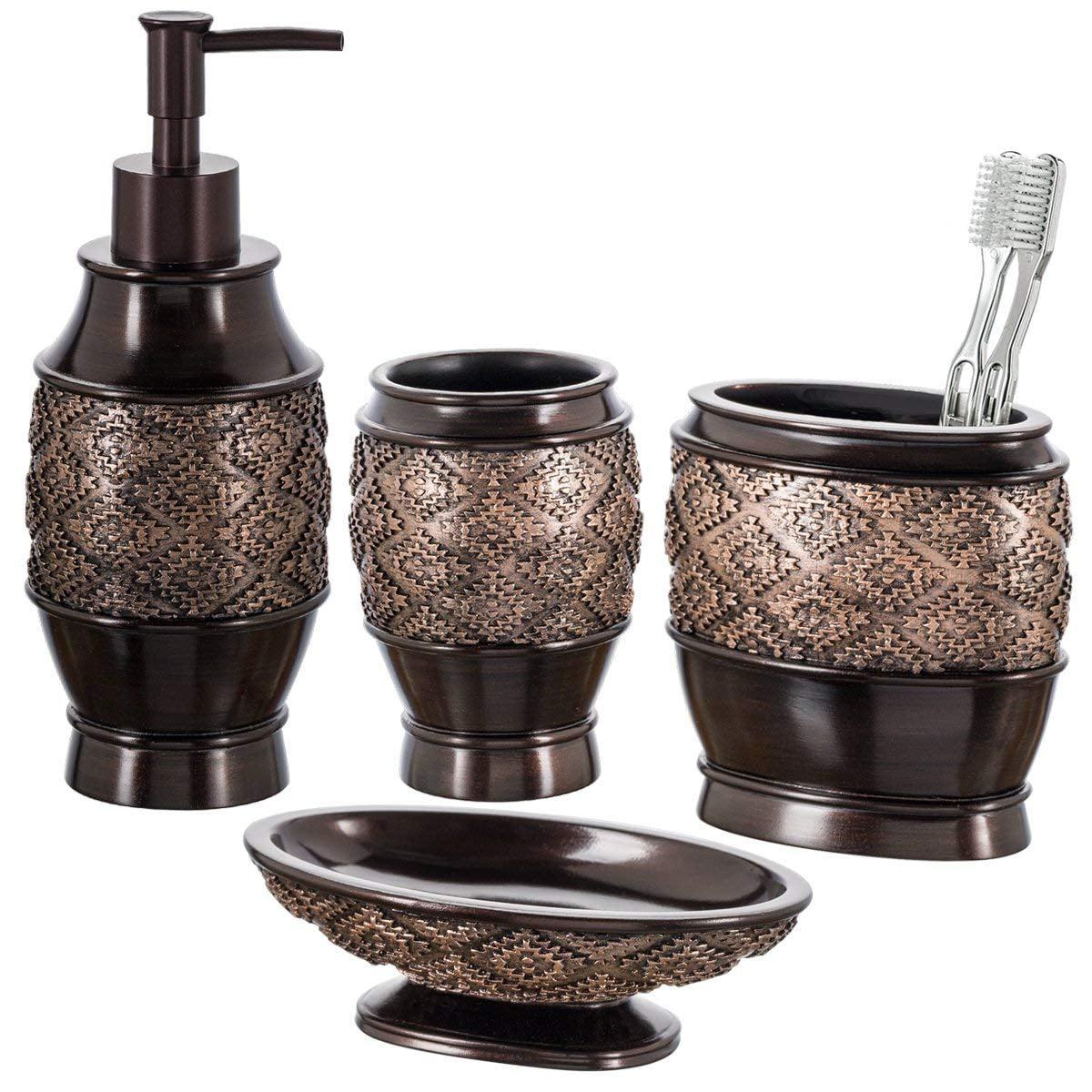 Toothbrush Holder /& Tumbler Set Soap Dispenser Dark Brown Ceramic Soap Dish