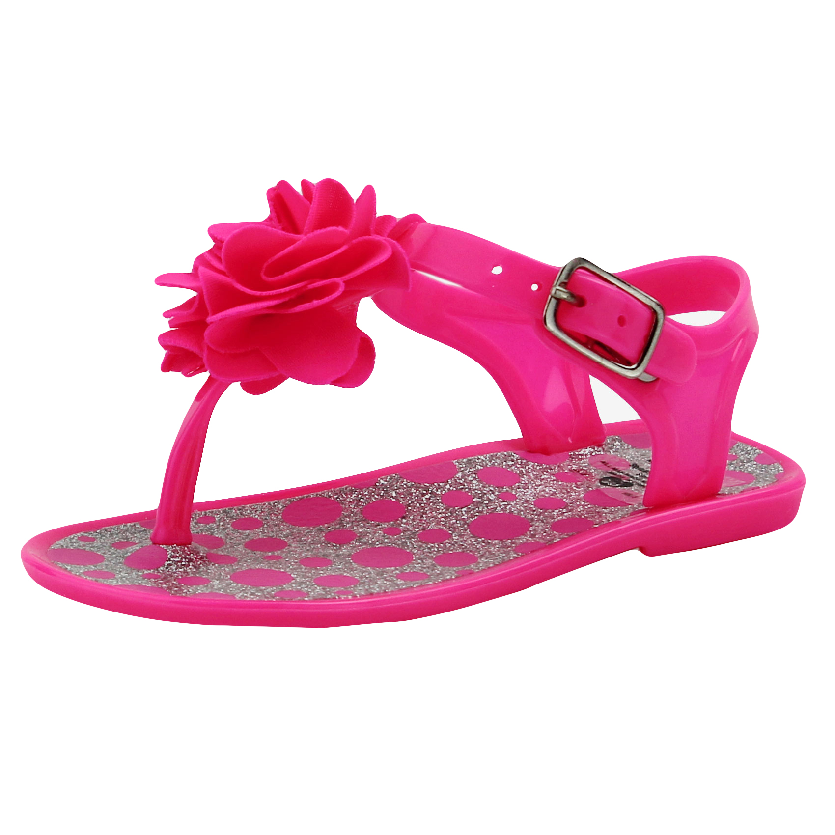 Stepping Stones Baby Girls Hot Pink Polka Dot Glitter Flower Thong Sandal / Jelly Sandals with Backs-Size 6 Infant Toddler Flip Flops For Causal or Dress