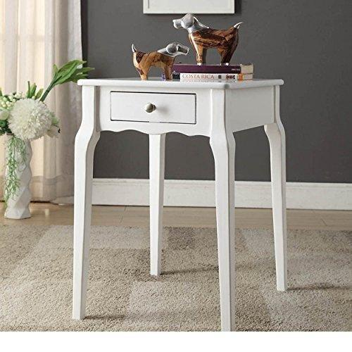 Modern Country Style Wood Accent Nightstand End Sofa Side Table Rectangle  Shaped With Storage Drawer