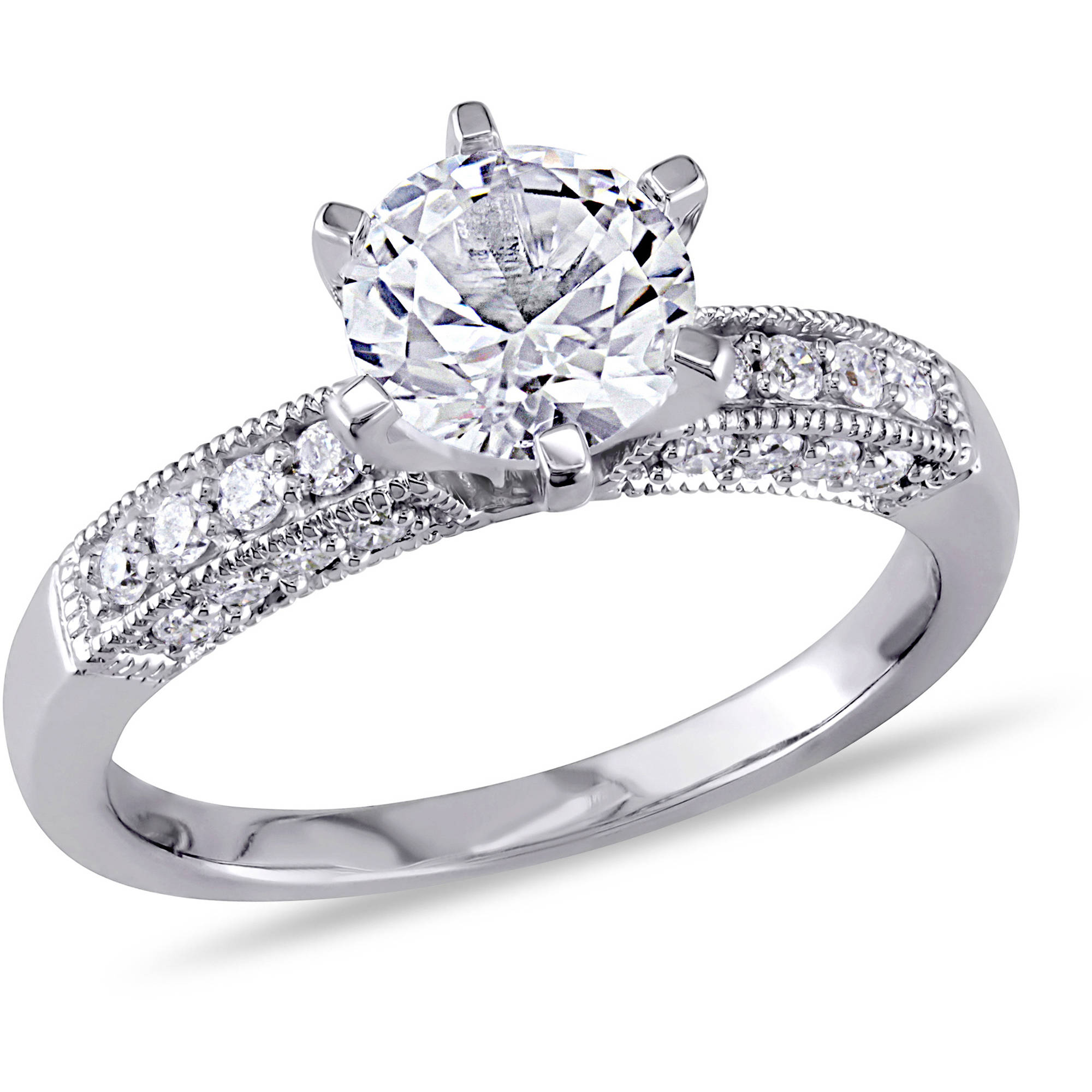 Miabella 1-3/8 Carat T.G.W. Created White Sapphire and 1/4 Carat T.W. Diamond 10kt White Gold Engagement Ring