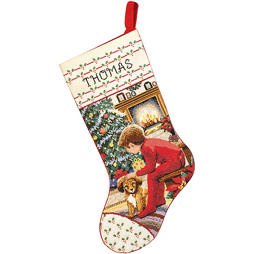 "Waiting For Santa Stocking Counted Cross Stitch Kit-18"" Long 14 Count"