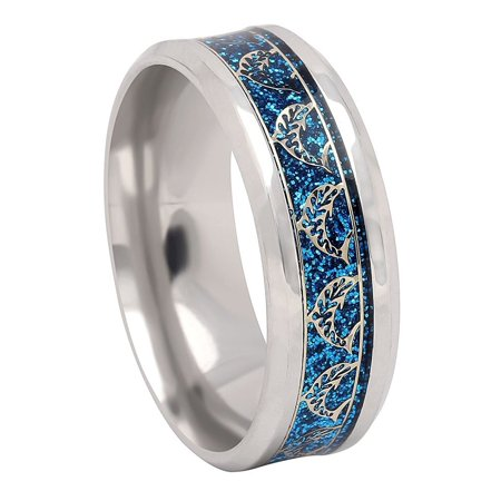 Dolphins Stainless Steel Comfort Fit Wedding Band Ring - Ginger Lyne Collection