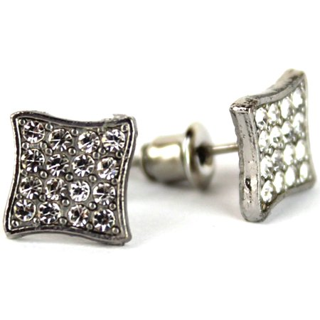 Micro Pave Square Silver Stud Earrings 7 mm Men Women Unisex ()