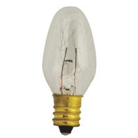 Satco Incandescent Night Light Lamp C7, 7 Watt, 120 Volt, Candelabra Base, Clear, 3,000 Average Rated Hours - 2