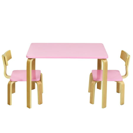Gymax 3 Piece Kids Wooden Table and 2 Chairs Set Children Activity Art Desk Furniture