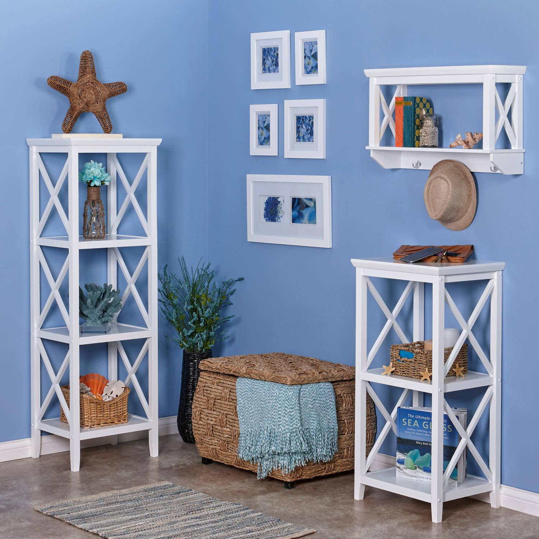 RiverRidge Home X- Frame Bath Collection - Wall Shelf with Hooks ...