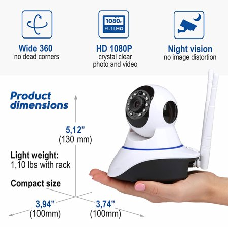 SUNZEO HD IP Camera- Wireless Surveillance Camera with Night Vision/  Two-way Audio/ PTZ, 2 4Ghz Wifi Indoor Home Security Dome Camera for Pet  Baby,