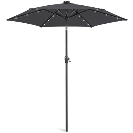 Image of Best Choice Products 7.5ft Outdoor Solar Patio Umbrella for Deck, Pool w/ Tilt, Crank, LED Lights - Gray