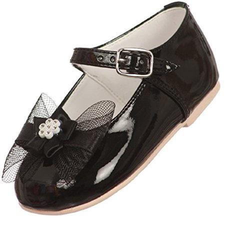 Little Baby Girl Infant Toddler Patent Bow Ankle Strap Buckle Dress Shoes Black 0 Infant (T77R15K)