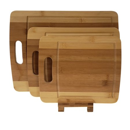 Adorn Home Essentials 4 pc. Bamboo kitchen cutting board set with 3 (small, medium & larger) chopping blocks with a holder | Carving, butcher, food prep, chopping |All-natural Bamboo, - Set Small Block