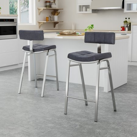 Amazing Zoey Morse Modern Microfiber 25 5 Counter Stool Set Of 2 Navy Blue Machost Co Dining Chair Design Ideas Machostcouk