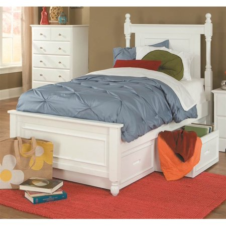 captain bed with trundle in white twin. Black Bedroom Furniture Sets. Home Design Ideas