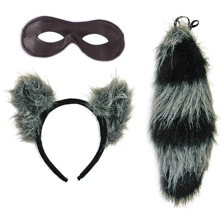 Raccoon Ears, Tail and Mask Set Adult Costume Accessory Kit