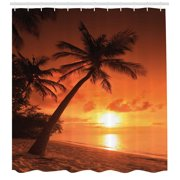 Tropical Shower Curtain, Twilight Dusk at Sandy Beach with Coconut Palms Maldives Summer Panorama, Fabric Bathroom Set with Hooks, Coral Orange Brown, by Ambesonne