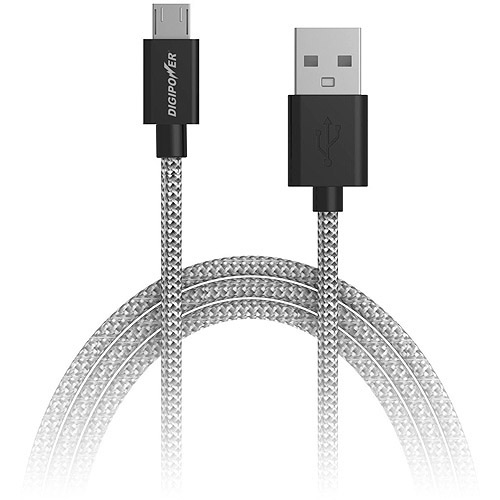 Digipower Micro USB Braided Jacket Rugged Cable and Smartphone Charger, 6'