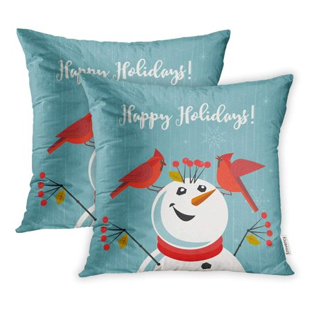 YWOTA Happy Holidays Red Northern Cardinal Birds Comic Snowman Cute Cartoon Winter Pillow Cases Cushion Cover 16x16 inch