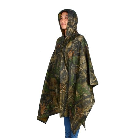 Yosoo Material made by PVC, tear resistant and durable to use,Waterproof Army Hooded Ripstop Festival Rain Poncho Military Camping Hiking 2018
