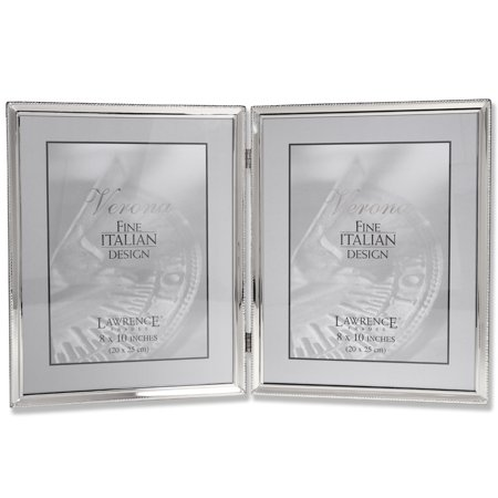 Leather Polished Frame - Polished Silver Plate 8x10 Hinged Double Picture Frame - Bead Border Design