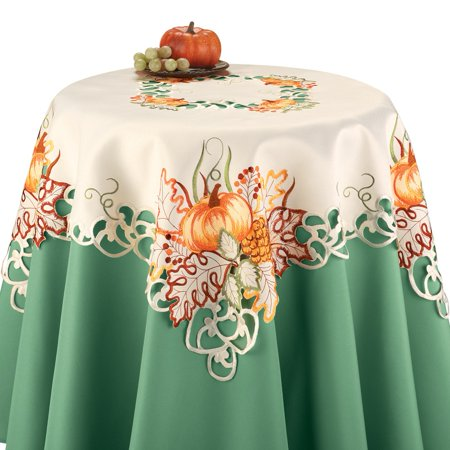 Embroidered Pumpkin Autumn Leaves Scalloped Edge Table Linens, (Pumpkin Table)