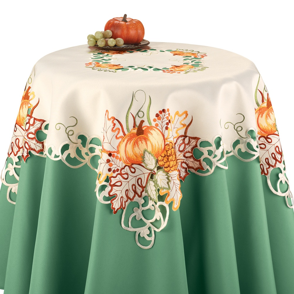 Embroidered Pumpkin Autumn Leaves Scalloped Edge Table Linens, Square