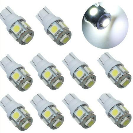 10X T10 192 168 194 W5W 158 5 LED 5050 SMD Turn Signal Corner Parking Side Marker Tail Reading License Backup Light White Light Bulb Lamp DC 12V Replacement Light