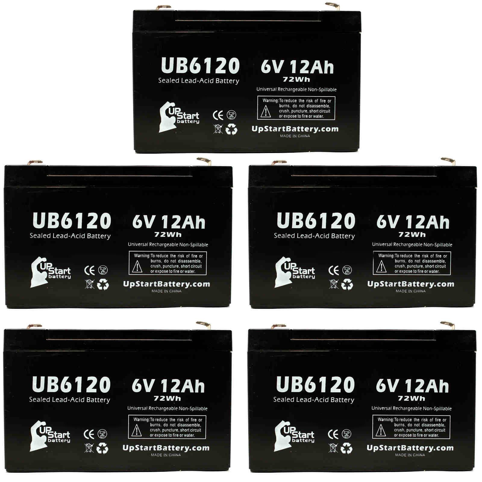 5x Pack - ACCESS BATTERY SLA6100 Battery Replacement - UB6120 Universal Sealed Lead Acid Battery (6V, 12Ah, 12000mAh, F1 Terminal, AGM, SLA) - Includes 10 F1 to F2 Terminal Adapters - image 4 de 4