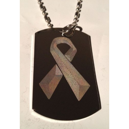 Breast Cancer Pink Ribbon Symbol Logo - Military Dog Tag Luggage Tag Key Chain Metal Chain Necklace