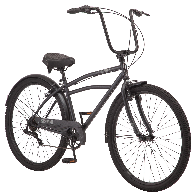 Schwinn Midway cruiser bike, 29-inch wheels, 7 speeds, men's frame, black