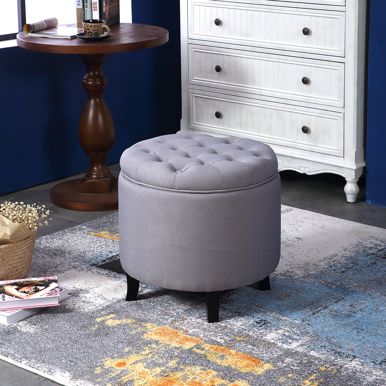 Belleze Nailhead Round Tufted Storage Ottoman Large Footrest Stool Lift Top, Gray by Belleze