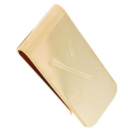 Golf Money Clips - Ky & Co Yellow Gold Tone Golf Clubs Mens Money Clip