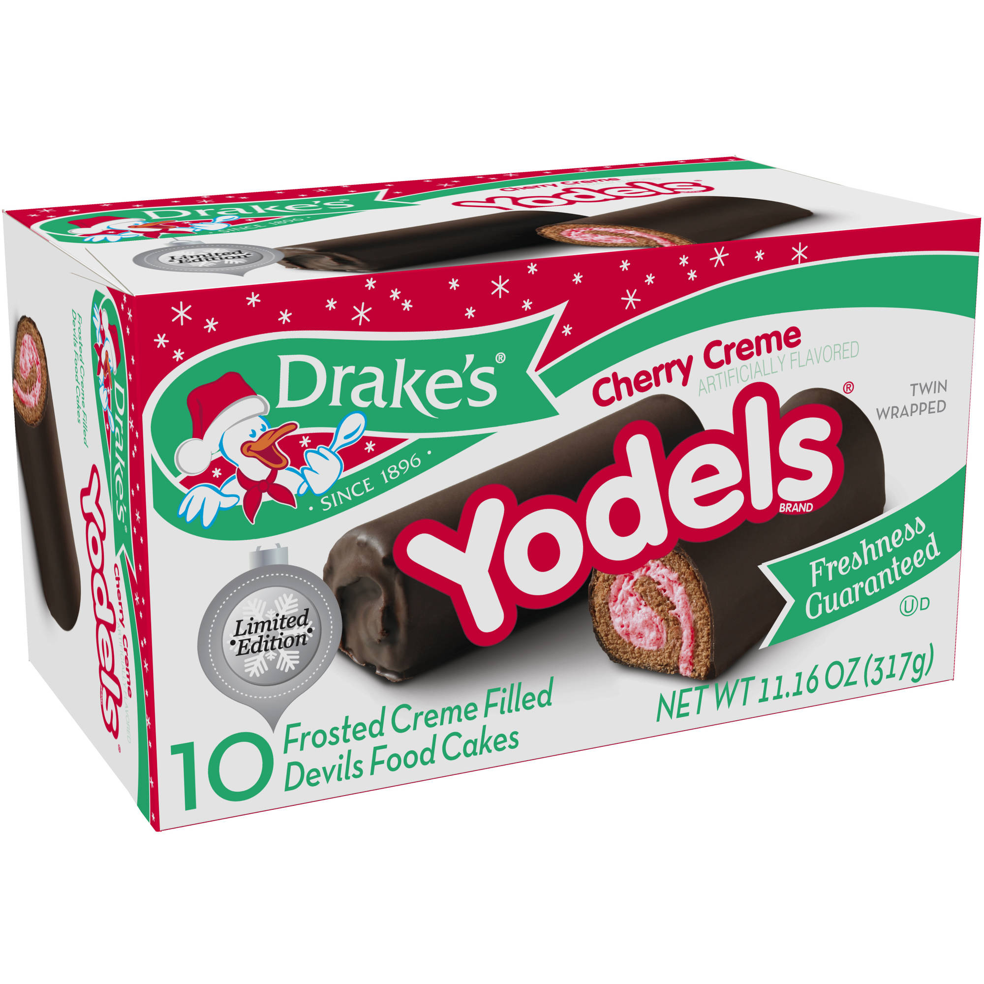 Drake's Christmas Cherry Crème Yodels, 11.16 oz