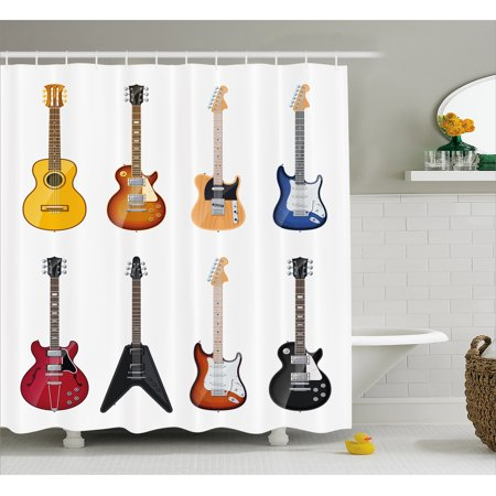 Guitar Shower Curtain A Wide Variety Of String Instruments Realistic Musical Pattern Jazz Blues Acoustic