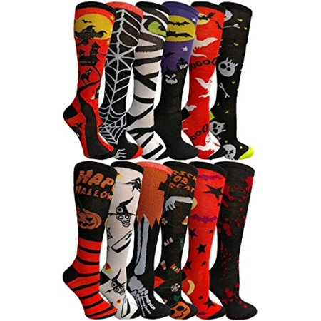 12 Pairs excell Women's Halloween Novelty Cute Socks (Knee High Assorted)