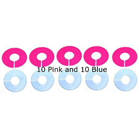 20 PACK Clothing Rack Size Dividers 10 PINK & 10 BLUE Clothing Rack Size Divider ()