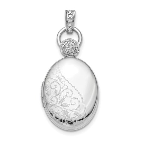 925 Sterling Silver Plate 18mm Oval Diamond Accent Photo Pendant Charm Locket Chain Necklace That Holds Pictures For Women