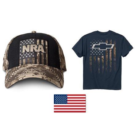4f3269239e7 NRA Tan Digi Camo Hat + Men s American Flag Chevy Bowtie T-Shirt + American  Flag Decal 2