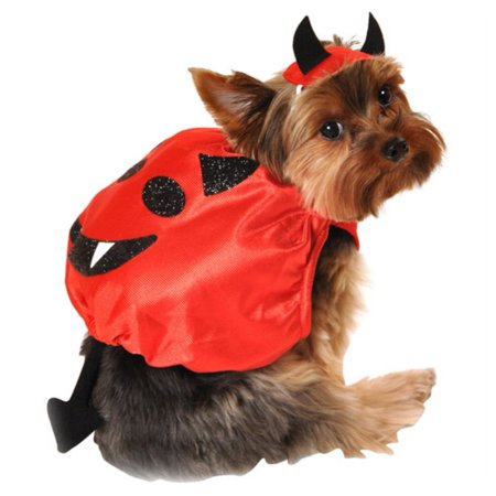 Devil Dog Costumes (Simply Dog Silky Red Devil Costume Pet Outfit with Horns &)
