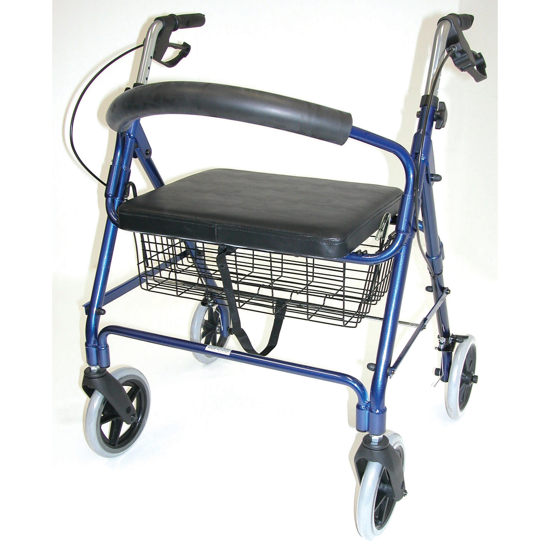 DMI Lightweight Extra-wide Aluminum Rollator Walker with Seat, Royal Blue, Folding