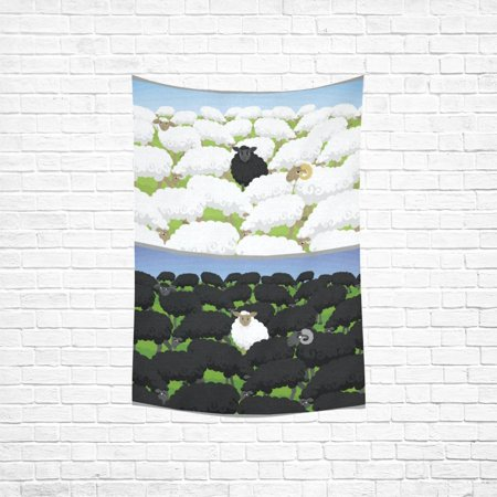 Sheep Tapestry - YKCG Home Decoration Black Sheep in White Flock and White Sheep Wall Hanging Tapestry 90 x 60 Inches