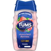 TUMS Ultra 1000 Tablets Assorted Berries 72 Tablets (Pack of 2)