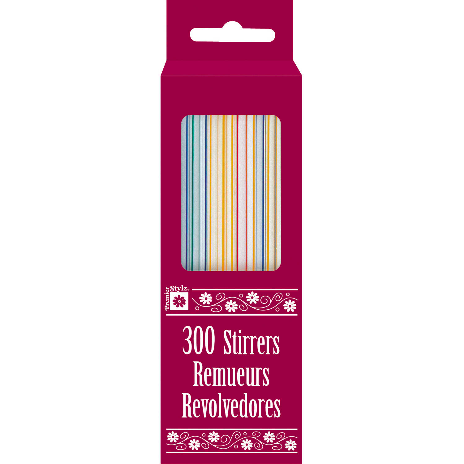 Plastic Coffee Stirrers, Assorted, 300ct