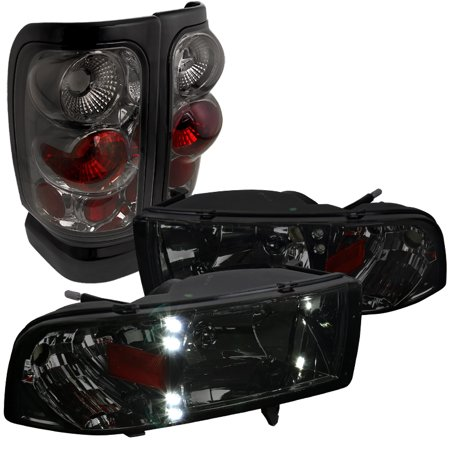 Spec-D Tuning For 1994-2001 Dodge Ram 1500 2500 3500 Pickup Smoke Led Headlights + Tail Brake Lamps (Left + Right) 1995 1996 1997 1998 1999 2000 Dodge 1500 Pickup Tail Lamps