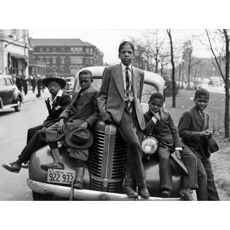 Easter Morning 1941 Nboys Dressed Up For Easter On The Southside Of Chicago Illinois Photograph By Russell Lee April 1941 Rolled Canvas Art     24 X 36