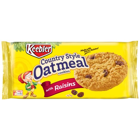 (3 Pack) Keebler Country Style Oatmeal Cookies with Raisins, 10.1 oz