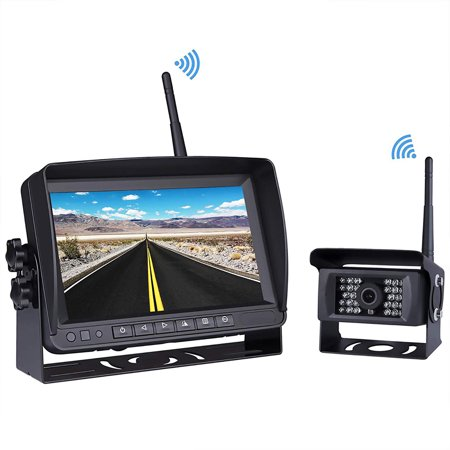Podofo 7 Inch Digital Wireless Reversing Monitor Waterproof 28 IR Rear View Backup Camera System for Bus Trailer RV Farm Machine