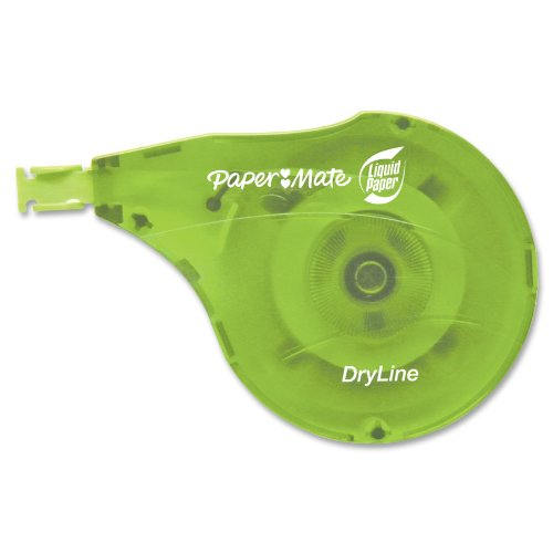 "Paper Mate Liquid Paper Dry Line Correction Tape - 0.20"" Width X 39.40 Ft Length - White Tape - 10 / Carton - Blue, Green Dispenser (PAP6137406)"